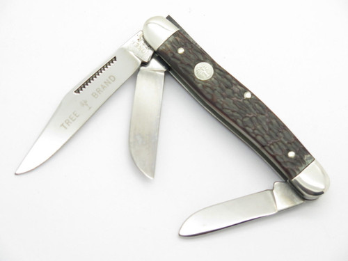 VTG 1970s BOKER USA TREE BRAND 8573 3 BLADE STOCKMAN FOLDING POCKET KNIFE