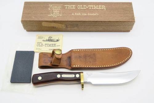 VINTAGE 1946-73 SCHRADE WALDEN 165 WOODSMAN OLD TIMER FIXED BLADE HUNTING KNIFE +BOX