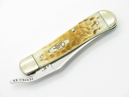 2005 CASE XX 61953 RUSSLOCK FOLDING POCKET KNIFE AMBER JIGGED BONE