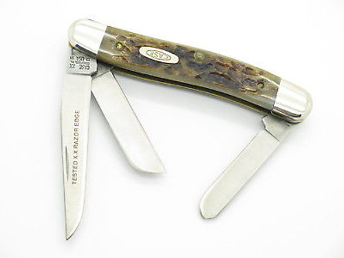 1991 CASE XX 6318 HPSSP STOCKMAN FOLDING POCKET KNIFE HOLLOW RAZOR EDGE