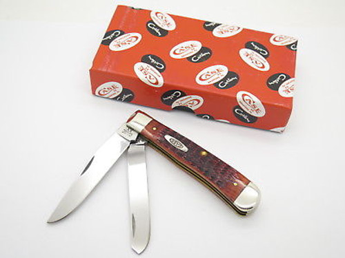 2015 CASE XX 6254 OLD RED BONE TRAPPER FOLDING POCKET KNIFE ANTIQUE STAMP