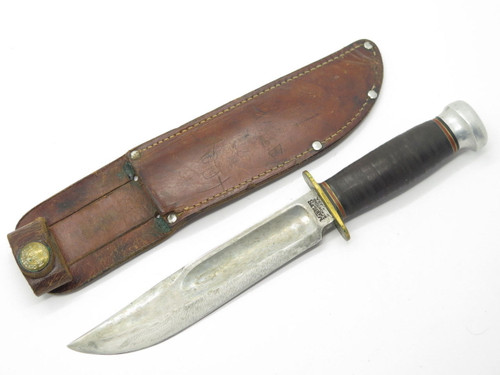 "VINTAGE MARBLES GLADSTONE MI USA No 45 IDEAL HUNTING KNIFE FIXED 6"" BLADE +SHEATH"