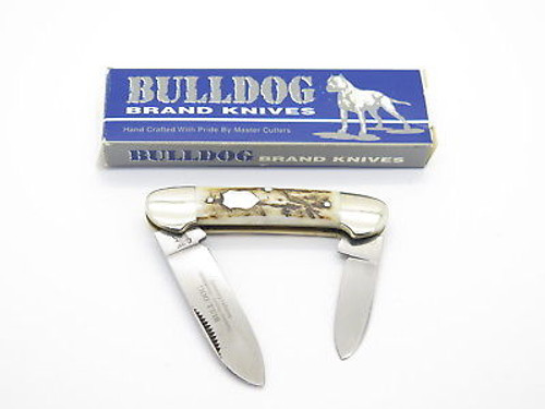 VINTAGE 1997 BULLDOG BRAND SOLINGEN STAG HANDLE CANOE FOLDING POCKET KNIFE