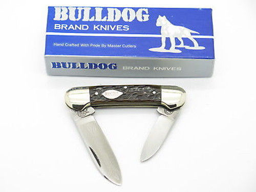 VINTAGE 1986 BULLDOG BRAND SOLINGEN TOBACCO CANOE FOLDING POCKET KNIFE BONE