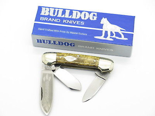 VINTAGE 1986 BULLDOG BRAND TOBACCO CANOE FOLDING POCKET KNIFE GOLD DUST