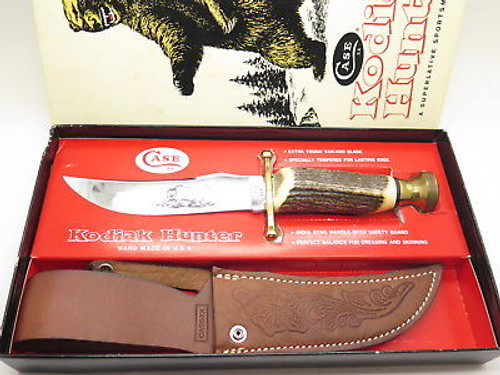 VTG 1980 CASE XX KODIAK HUNTER STAG FIXED BLADE BOWIE HUNTING KNIFE 10 DOT & BOX