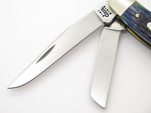 2001 CASE XX 6318 STOCKMAN BLUE JIGGED BONE FOLDING POCKET KNIFE NEAR MINT