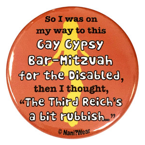 River Song Inspired Button: Gay Gypsy Bar Mitzvah for Disabled
