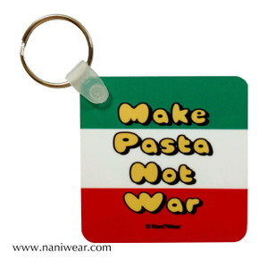 Hetalia Inspired Square Keychain: Make Pasta Not War