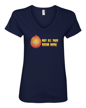 Howl's Moving Castle Women's V-Neck Fitted T-Shirt Calcifer May All Your Bacon Burn