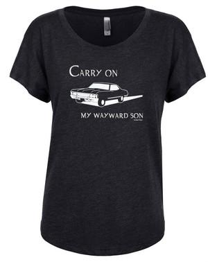 Supernatural Women's Dolman T-Shirt Carry On My Wayward Son