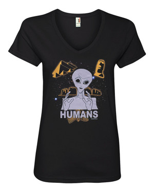 Ancient Aliens Women's V-Neck Fitted T-Shirt Humans