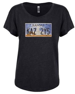 Supernatural Women's Dolman T-Shirt Impala Kansas License Plate
