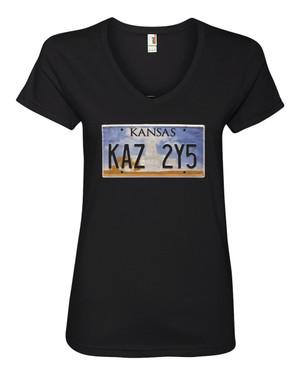 Supernatural Inspired Women's V-Neck Fitted T-Shirt Impala Kansas License Plate