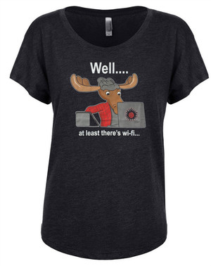 Supernatural Women's Dolman T-Shirt Moose Sam Winchester At Least There's WiFi