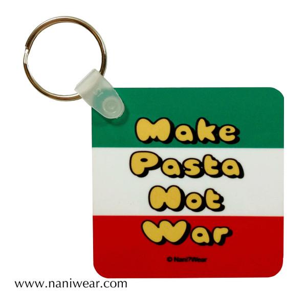 Hetalia Inspired Square Keychain: Make Pasta Not War