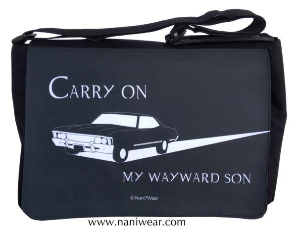 Supernatural Inspired Large Messenger/Laptop Bag: Carry On Wayward Son