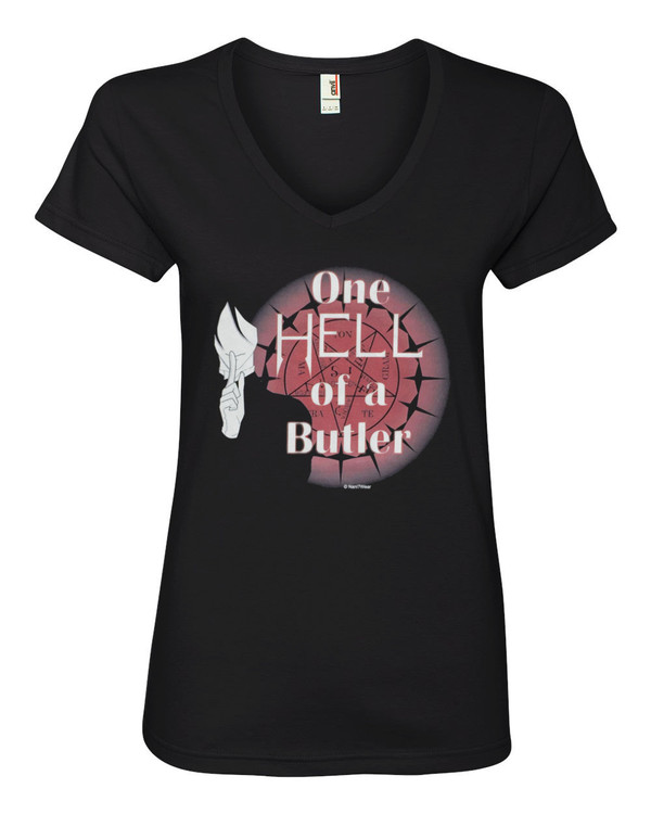 Black Butler Anime Women's V-Neck Fitted T-Shirt One Hell of a Butler