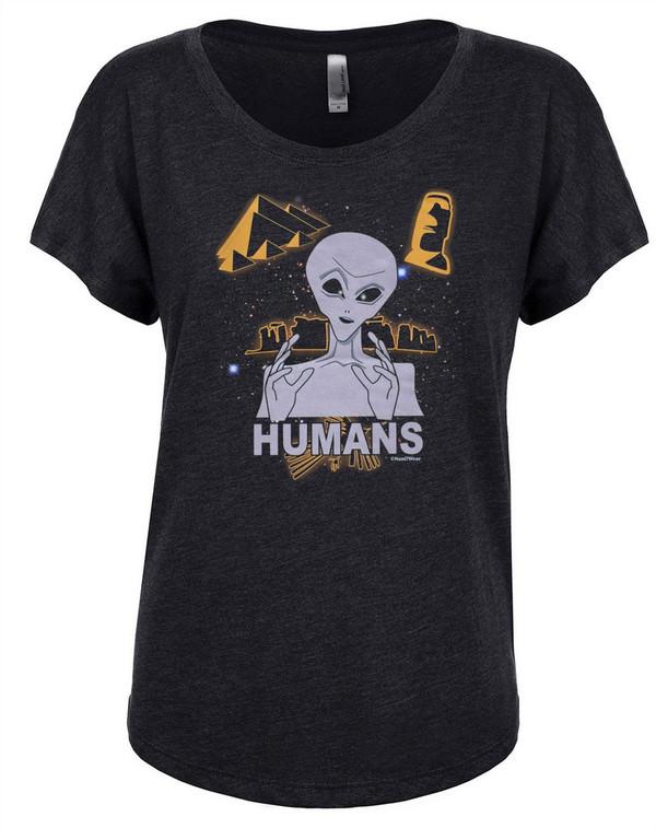 Ancient Aliens Women's Dolman T-Shirt Humans