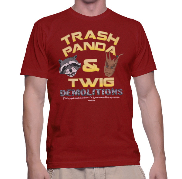 Rocket Raccoon and Groot Inspired Geek T-Shirt Trash Panda & Twig