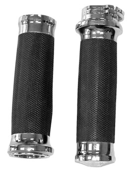 "Biker's Choice - Chrome Tornado Grips - fits Harley Davidson with Dual Cable 1"" Handlebars"