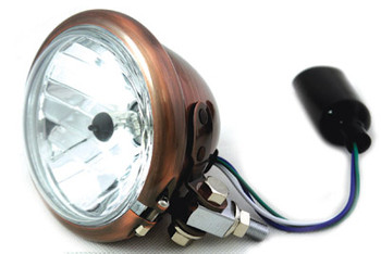 "Copper 4 1/2"" Bottom Mount Headlight 35/35 Watt H4 Bulb"