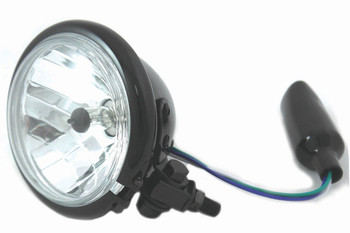 "Black 4-1/2"" Bottom Mount Headlight 35/35 Watt H4 Bulb"