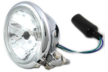 "Chrome 4-1/2"" Bottom Mount Headlight 35/35 Watt H4 Bulb"