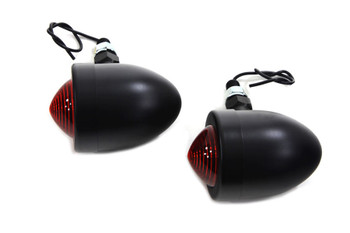 Black Marker Lamp Set with Red Lens Single Stem