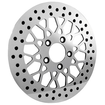 Bikers Choice - Mesh Style Polished Brake Rotor - Rear - fits '84-'13 Harley Davidson