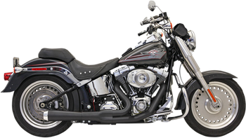 Bassani - Road Rage 2-into-1 Exhaust Systems Black, Short - Fits '86-'16 FXS, FXST,FLS,FLST