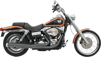Bassani - Road Rage 2-into-1 Exhaust Systems Black, Long - Fits '06-'16 FXD/FXDWG With Forward or Mid Controls