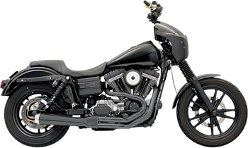 Bassani - Road Rage 2-into-1 Exhaust Systems Black, Short, Upswept - Fits '86-'16 FXS, FXST,FLS,FLST