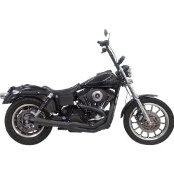 Bassani - Road Rage 2-into-1 Exhaust Systems Black, Long - Fits  '91-'05 FXD/FXDWG With Mid Controls Only