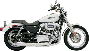 Bassani - Road Rage 2-into-1 Exhaust Systems Chrome, Short, Upswept - Fits  '04-'13 XL W/ Mid or Forward Controls