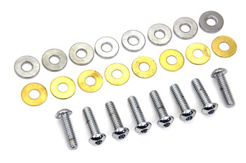 Colony - Chrome Rocker Cover Screw Kit fits Harley XL, FL, FXD - Button Head