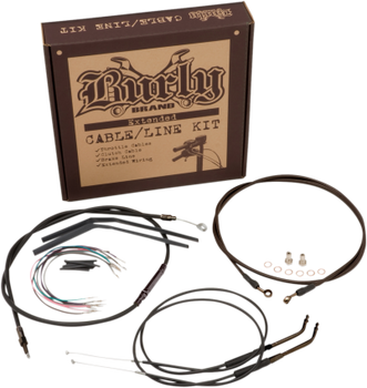 "Burly Brand - 14"" Handlebar Cable/ Brake Line Extension Kit - fits '12-'16 FXDWG/FLD/FXDB, '12-'14 FXDC, '14-'16 FXDL W/ABS"