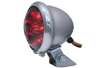V-Twin - Round LED Chrome Tail Light - Smoked Lens