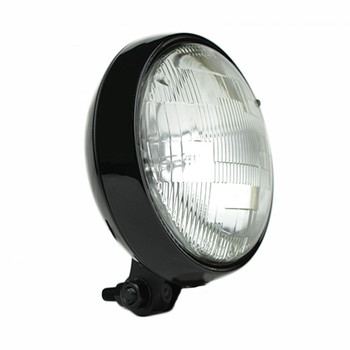 "Motorcycle Supply Co. - Slim 5"" Black Headlight - Clear Lens"