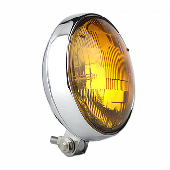 "Motorcycle Supply Co. - Slim 5"" Chrome Headlight - Amber Lens"