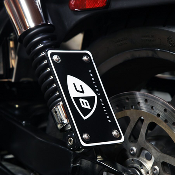 British Customs - Shock Mount License Plate Frame - fits '02-'16 America/Bonneville T100, '09-'15 Bonneville SE, '06-'16 Scrambler 900