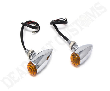 Motorcycle Supply Co. - Speeder Turn Signals Standard Bulb Chrome Amber Lens