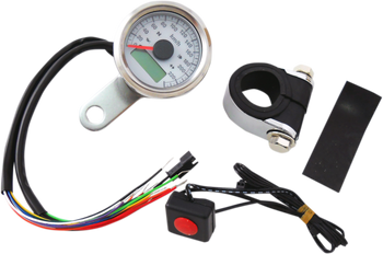 "Drag Specialties - 1-7/8"" Mini Programmable Electronic Speedometer With Indicator Lights - Polished"