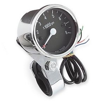 "Electronic 2.5"" Black Face Tachometer - Chrome"