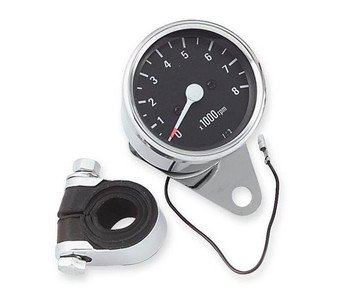 "Mechanical 2.5"" Black Face 2:1 Drive Ratio Tachometer - Chrome"
