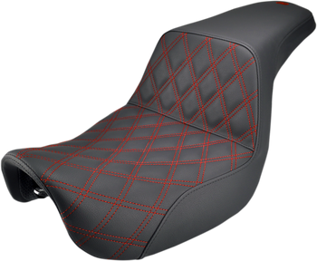 Saddlemen - Step Up Diamond Red Stitch Seat - fits '06-'17 Dyna (see desc.)