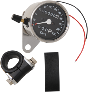 "Drag Specialties 2.4"" Mini Mechanical KM/H Speedometer Fits XL Models 91-94 with tripmeter"