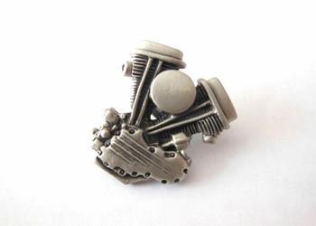 Panhead Lapel Pin - Silver Patina