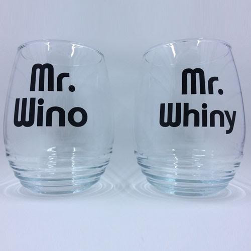 Mr. Wino & Mr. Whiny Stemless Wine Glasses