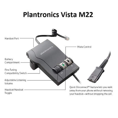 plantronics vista m22 headset amplifier from image management llc rh image management com Plantronics Headset Quick Disconnect Plantronics M20 User Guide